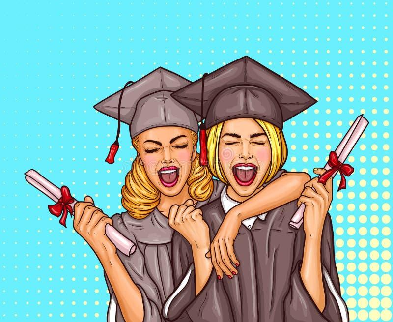 两流行艺术激发毕业盖帽的女孩与一个大学文凭的研究生和披风在他们的手上 向量例证