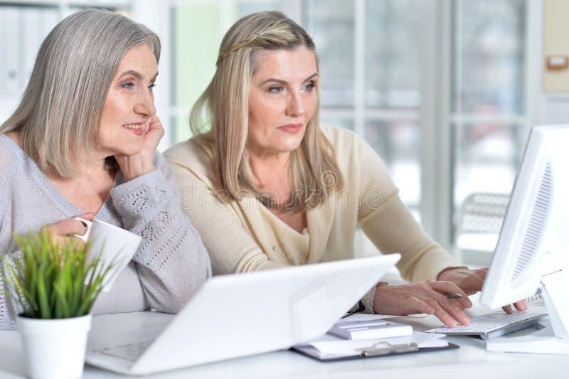 两激发工作在办公室的成熟妇女 库存图片