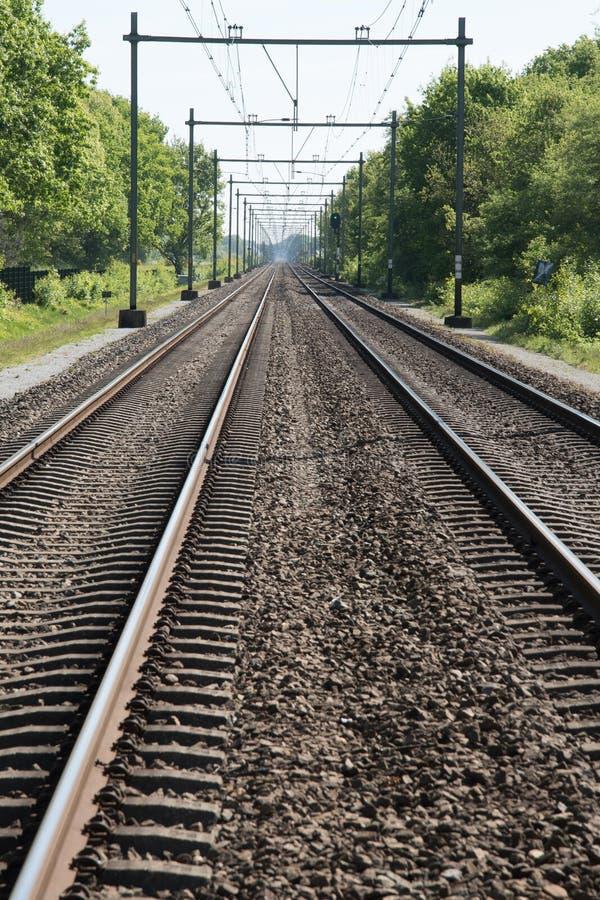 两火车的铁路 免版税库存图片