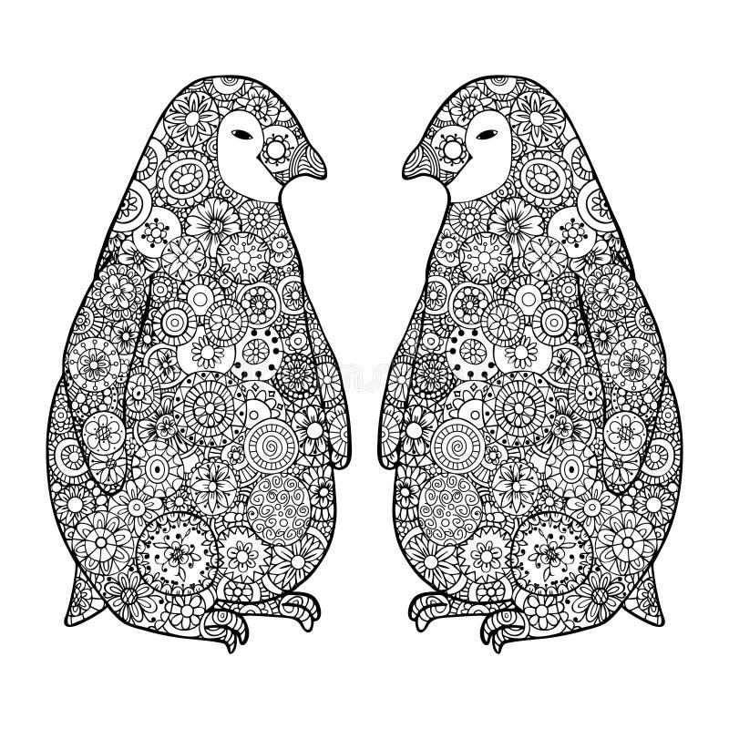 两爱恋的企鹅 禅宗缠结传染媒介 Zentangle黑白的南极洲 库存例证