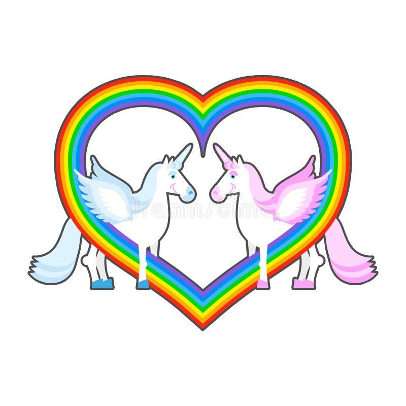 两独角兽和彩虹心脏 LGBT社区的标志 变粉红色a 向量例证