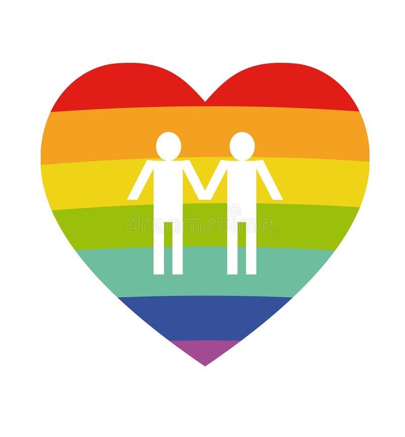 两白人silhouetteon彩虹心脏背景 与LGBT支持标志的海报 在白色backgro隔绝的彩虹平的心脏 向量例证