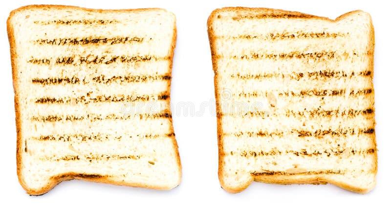 两白面包多士用蕃茄。隔绝在白色背景, 库存图片