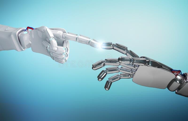 两种机器人` s手接触 3d翻译 皇族释放例证