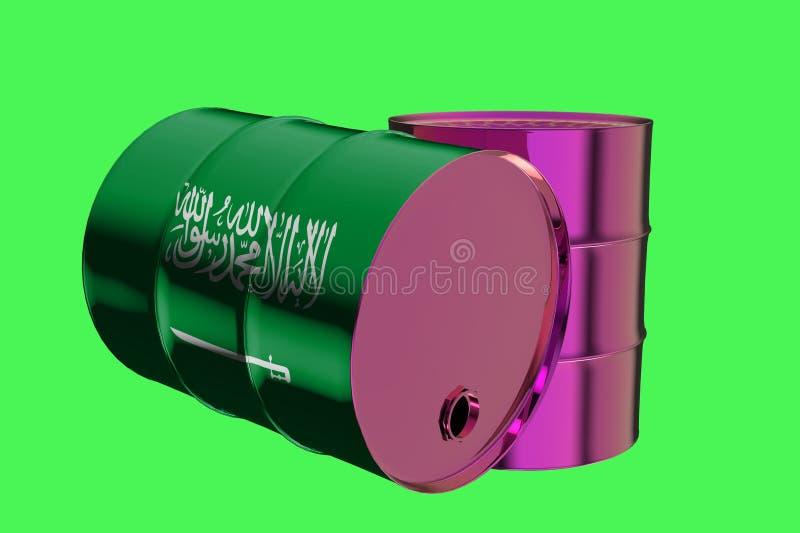 两种金属工业油桶与沙特阿拉伯3D翻译王国旗子  皇族释放例证