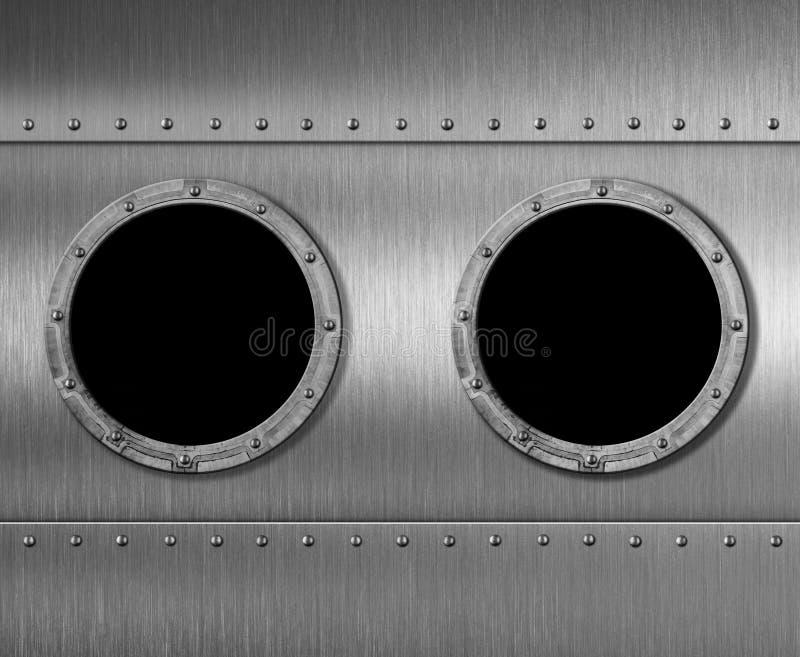 两种金属潜水艇或太空飞船舷窗窗口3d例证 皇族释放例证