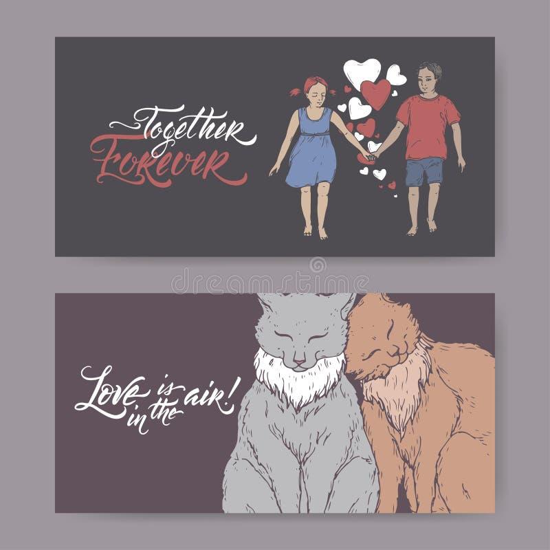 两种颜色的与两只拿着手和刷子字法的猫、男孩和女孩的华伦泰浪漫横幅 库存例证