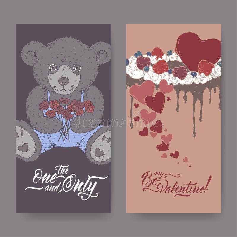 两种颜色的与用心脏装饰的玩具熊、蛋糕和刷子字法的华伦泰浪漫横幅 向量例证