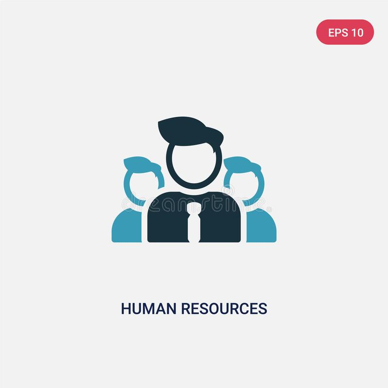 两种颜色的人力资源导航从战略概念的象 被隔绝的蓝色人力资源传染媒介标志标志可以是网的用途, 向量例证