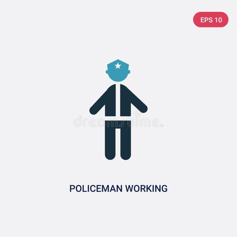 两种颜色的从人概念的警察运作的传染媒介象 被隔绝的蓝色警察运作的传染媒介标志标志可以是网的用途 皇族释放例证