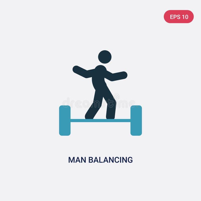 两种颜色的从体育概念的人平衡的传染媒介象 被隔绝的蓝色人平衡的传染媒介标志标志可以是网的,机动性用途 皇族释放例证