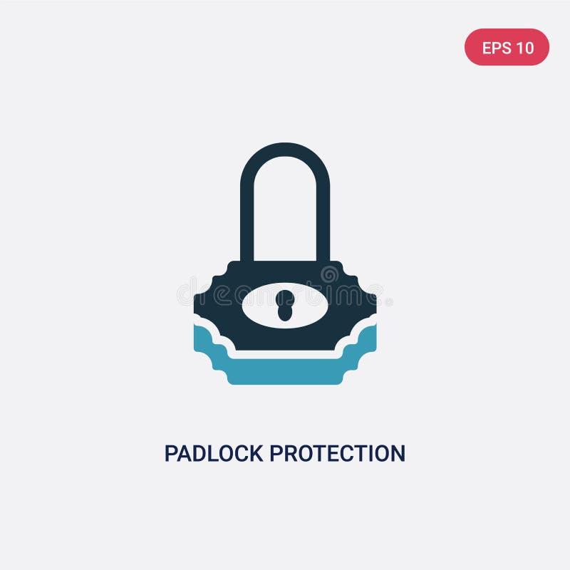 两种颜色的从安全概念的挂锁保护活跃传染媒介象 被隔绝的蓝色挂锁保护活跃传染媒介标志标志 皇族释放例证