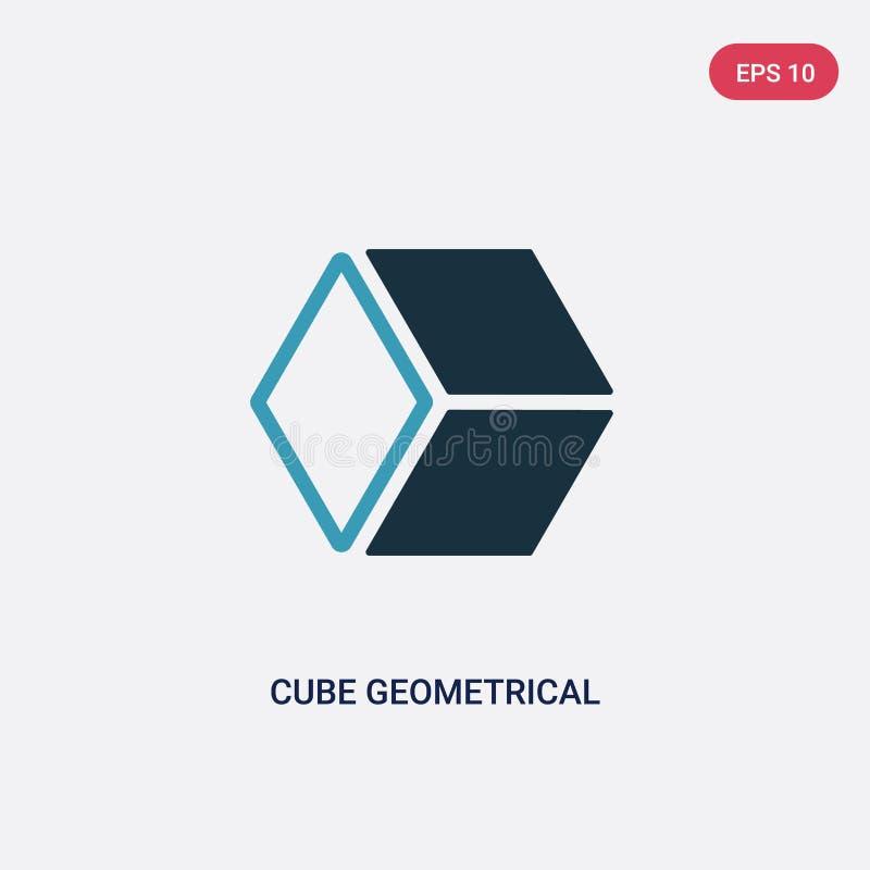 两种颜色的从形状概念的立方体几何传染媒介象 被隔绝的蓝色立方体几何传染媒介标志标志可以是网的用途, 向量例证