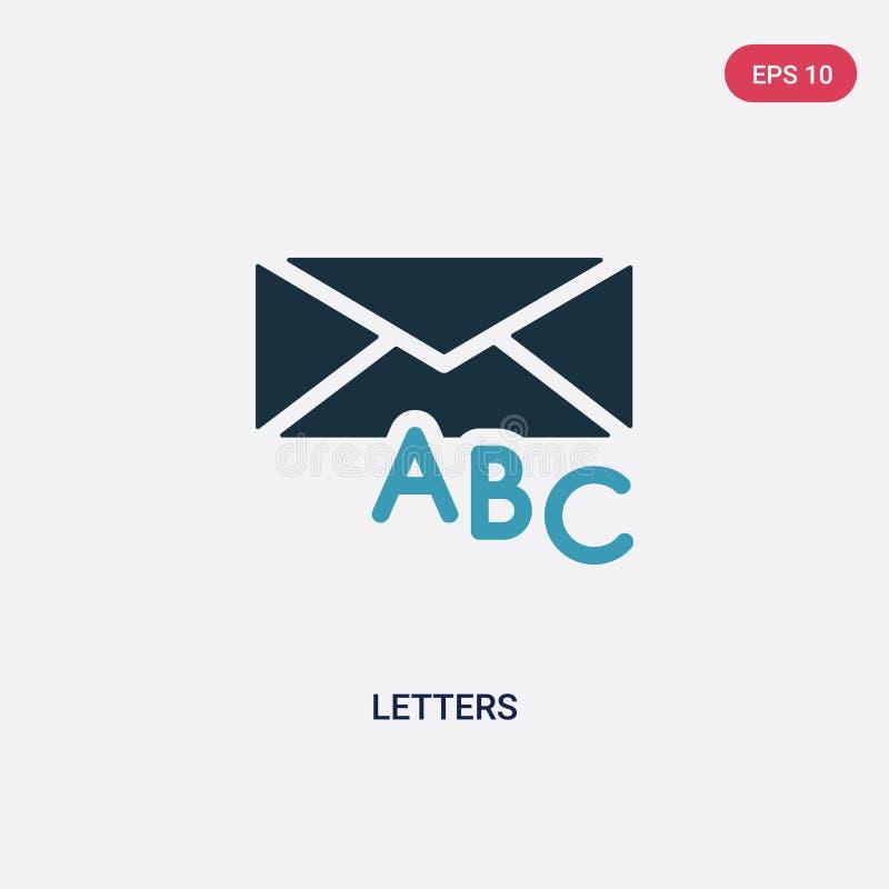 两种颜色的信件导航从社会概念的象 被隔绝的蓝色信件传染媒介标志标志可以是网、机动性和商标的用途 皇族释放例证