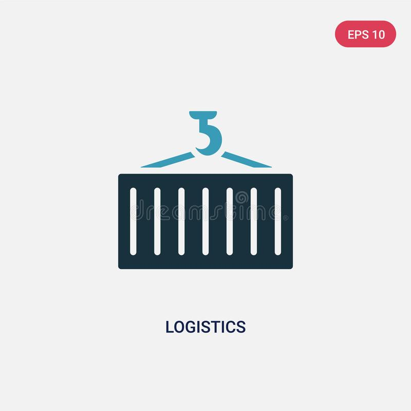 两种颜色的后勤学导航从战略概念的象 被隔绝的蓝色后勤学传染媒介标志标志可以是网的用途,流动和 皇族释放例证