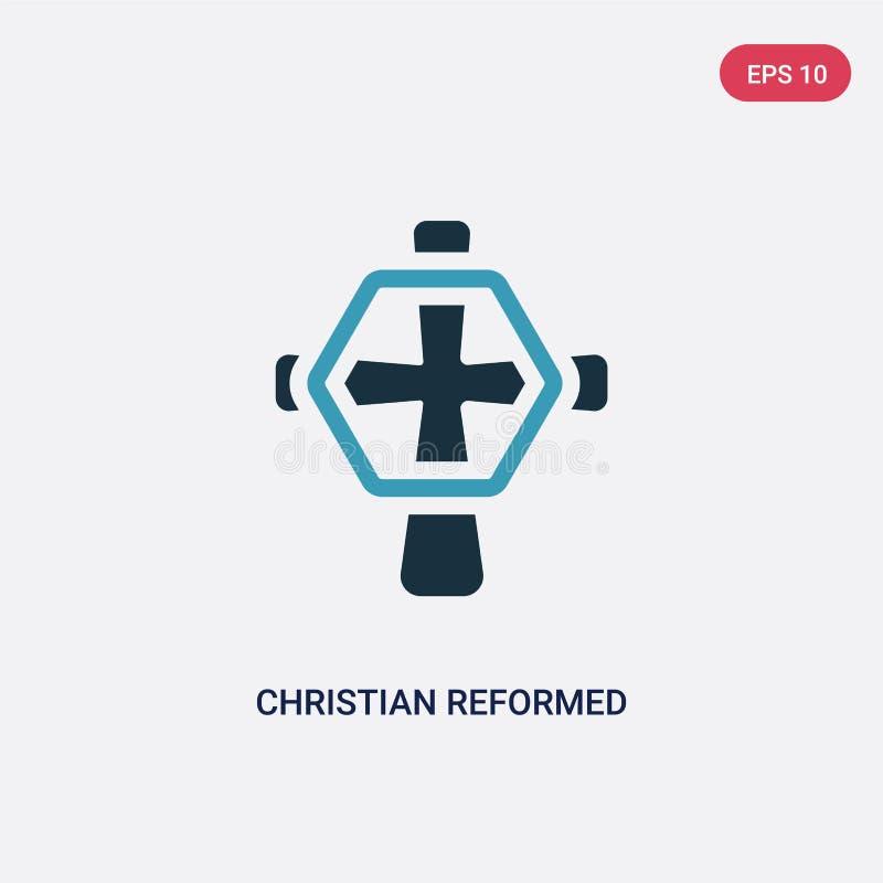 两种颜色的基督徒改革了教会从宗教概念的传染媒介象 被隔绝的蓝色基督徒被改革的教会传染媒介标志标志 库存例证