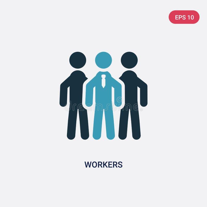 两种颜色的工作者导航从战略概念的象 被隔绝的蓝色工作者传染媒介标志标志可以是网、机动性和商标的用途 皇族释放例证