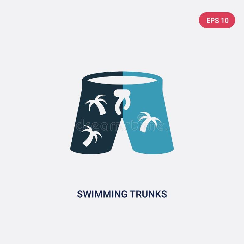 两种颜色的游泳裤导航从夏天概念的象 被隔绝的蓝色游泳裤传染媒介标志标志可以是网的用途, 库存例证