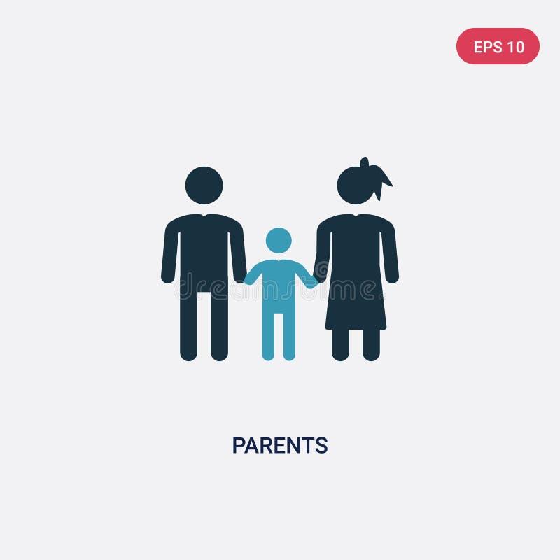 两种颜色的父母导航从人概念的象 被隔绝的蓝色父母传染媒介标志标志可以是网、机动性和商标的用途 皇族释放例证