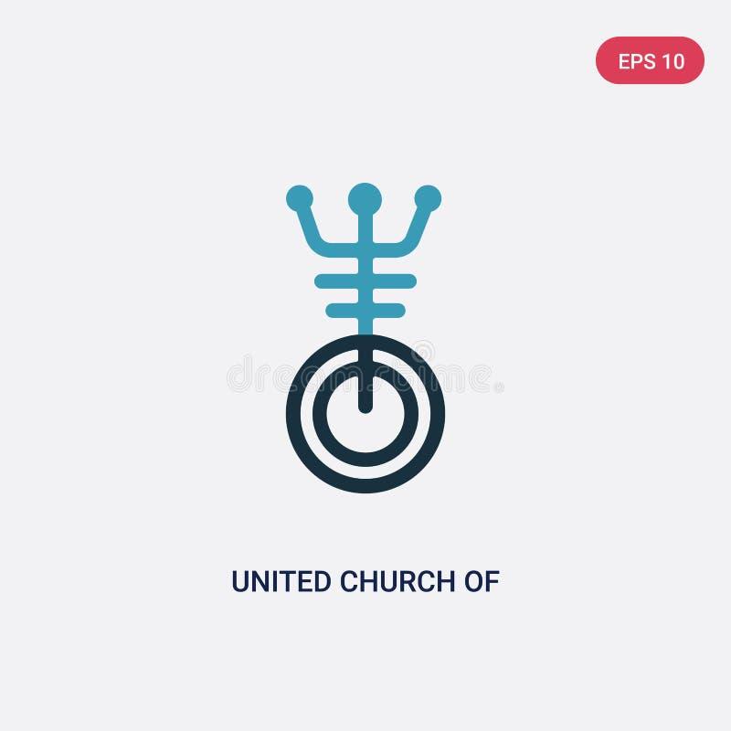 两种颜色的联合基督教教堂从宗教概念的传染媒介象 被隔绝的蓝色联合基督教教堂传染媒介标志标志能 向量例证
