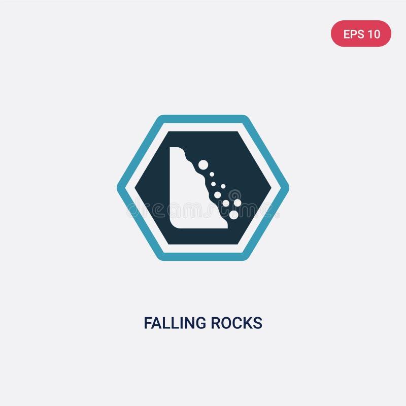 两种颜色的落的岩石导航从标志概念的象 被隔绝的蓝色下跌的岩石传染媒介标志标志可以是网的,机动性用途 向量例证