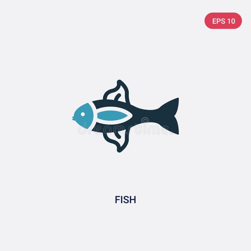 两种颜色的鱼导航从船舶概念的象 被隔绝的蓝色鱼传染媒介标志标志可以是网、机动性和商标的用途 EPS 皇族释放例证