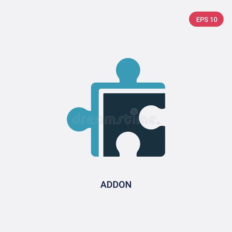 两种颜色的addon导航从编程的概念的象 被隔绝的蓝色addon传染媒介标志标志可以是网、机动性和商标的用途 皇族释放例证