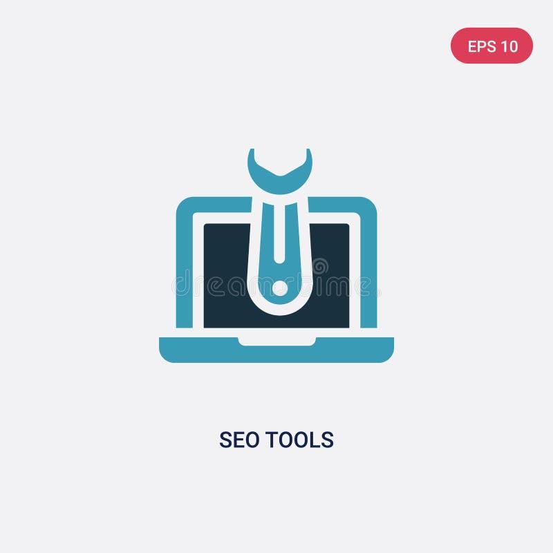 两种颜色的seo工具导航从编程的概念的象 被隔绝的蓝色seo工具传染媒介标志标志可以是网的,机动性用途 皇族释放例证