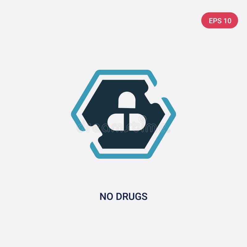 两种颜色药物不导航从标志概念的象 被隔绝的蓝色没有药物传染媒介标志标志可以是网、机动性和商标的用途 向量例证