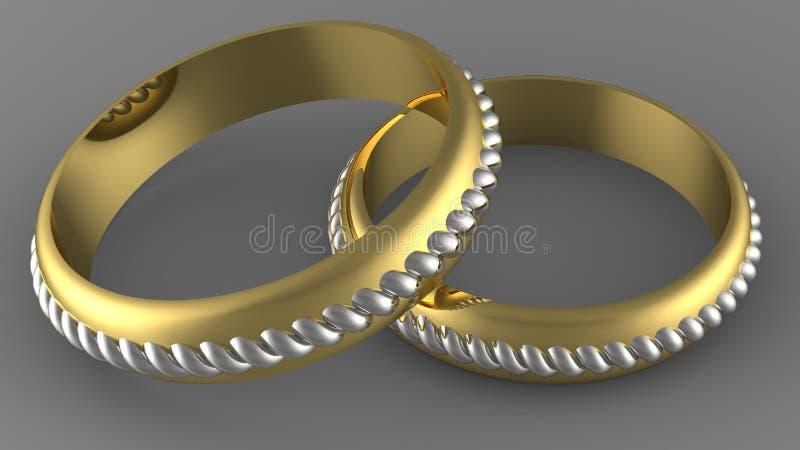 两种颜色金子婚戒 皇族释放例证