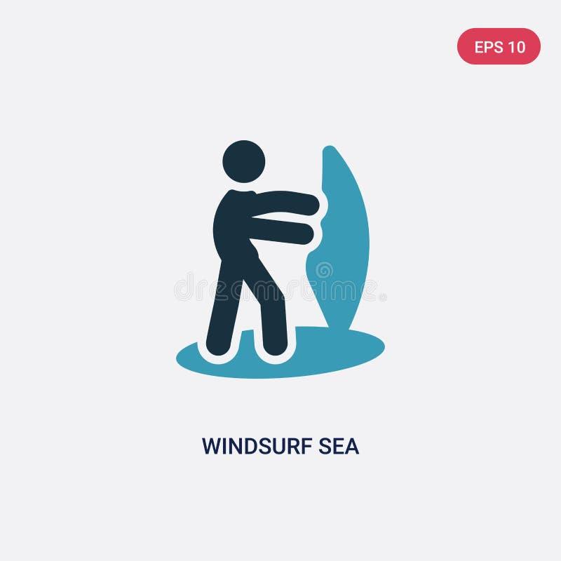 两种颜色风帆冲浪海从体育概念的传染媒介象 被隔绝的蓝色风帆冲浪海传染媒介标志标志可以是网的,机动性用途 向量例证