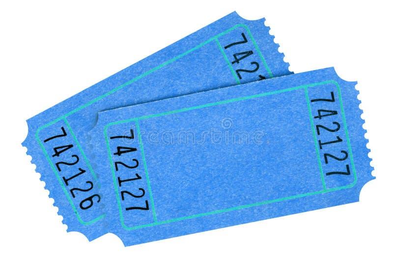 两空白的蓝色电影票隔绝了白色背景 库存图片