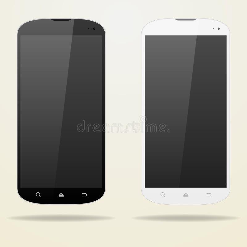 两空的智能手机 黑色白色 向量例证