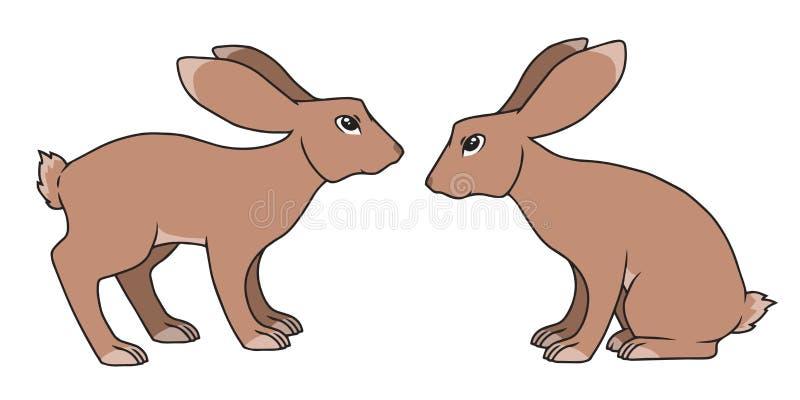 两简单的传染媒介动画片样式身分和坐的棕色兔子图画 库存例证