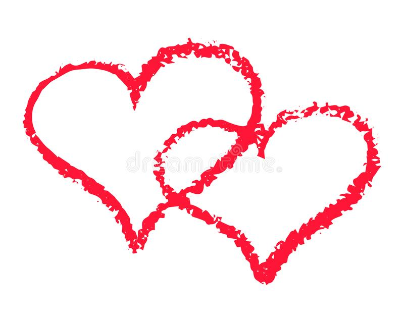两红心概述在白色背景的传染媒介例证 St情人节clipart 用粉笔写纹理双心脏 皇族释放例证