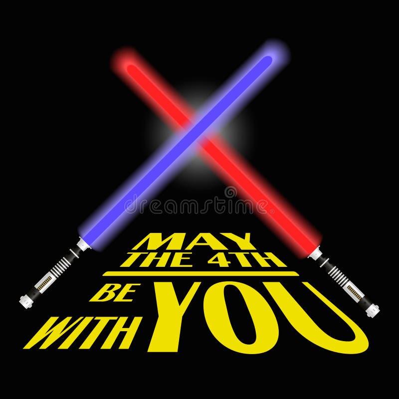 两红色和蓝色轻的未来剑和文本也许第四是以您eps10 皇族释放例证