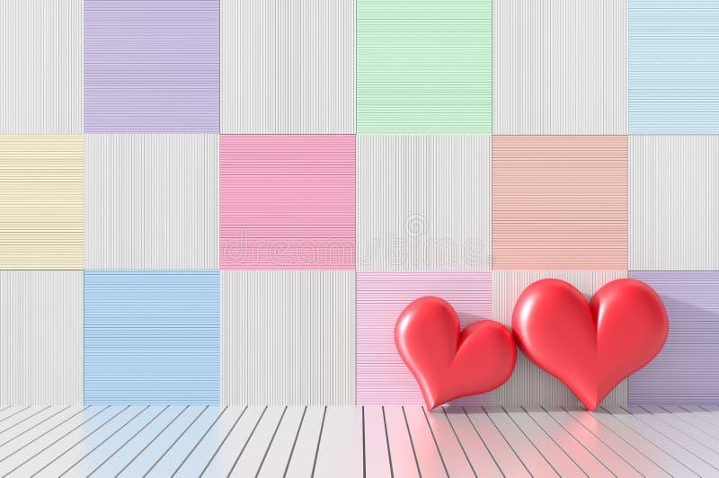 两红色心脏在屋子里 木墙壁装饰以明亮的颜色和品种 爱房间在华伦泰` s天 Backgro 皇族释放例证