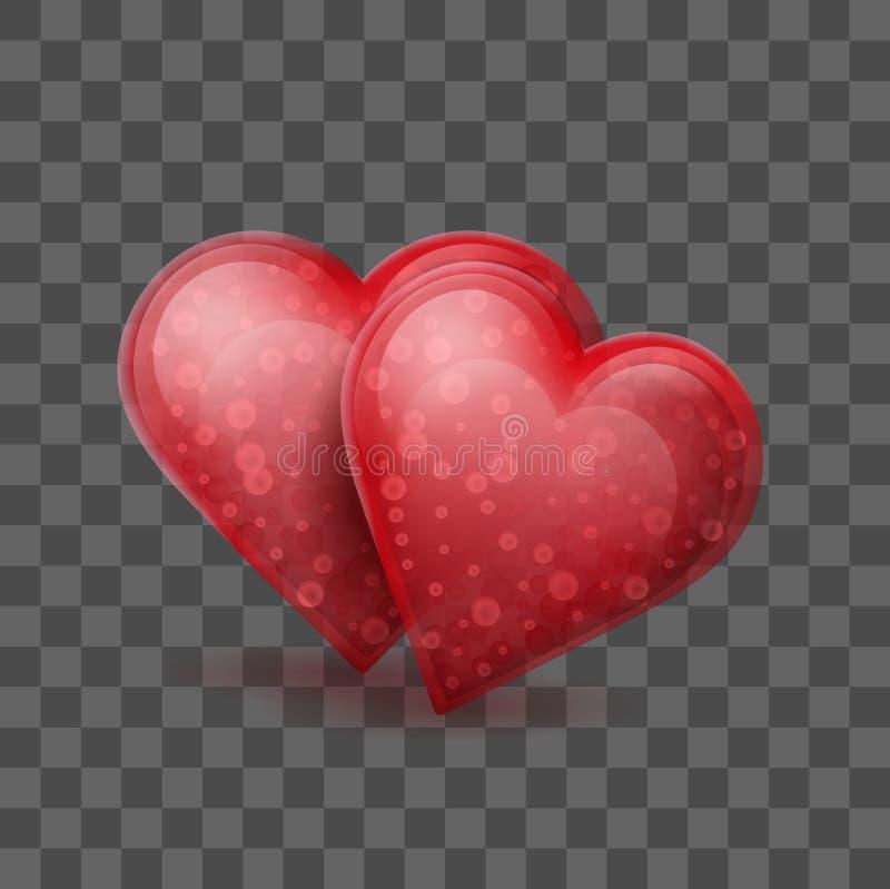 两红色玻璃或水晶心脏在透明作用背景一起加入了 皇族释放例证