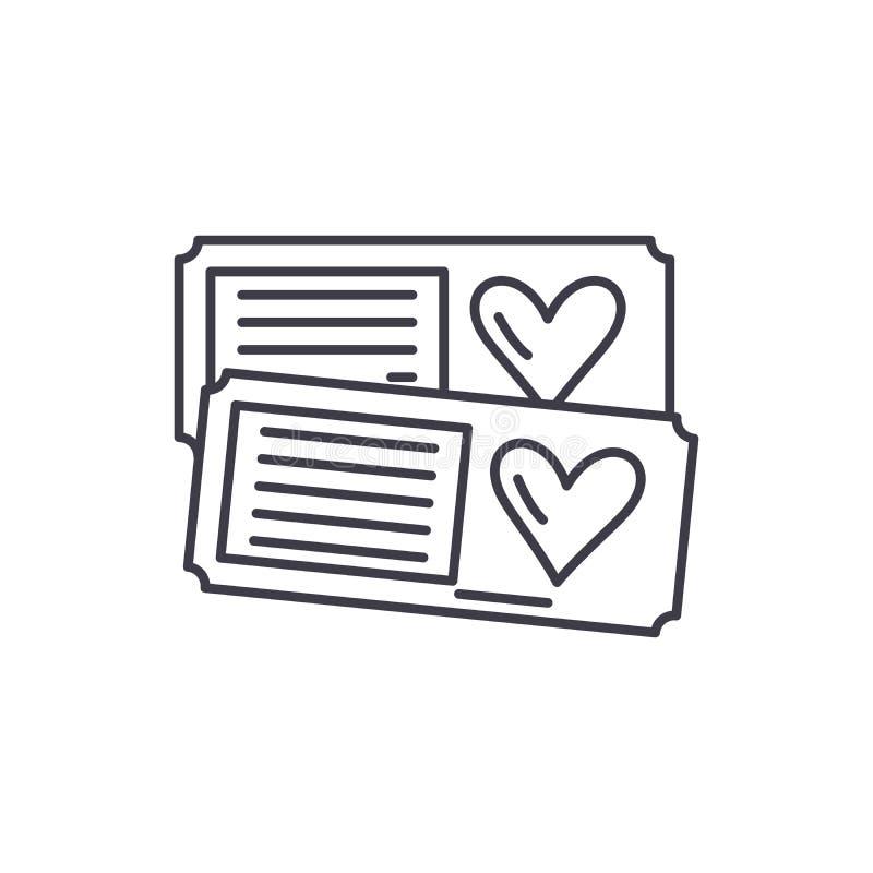 两线的象概念票 两传染媒介线性例证的,标志,标志票 库存例证