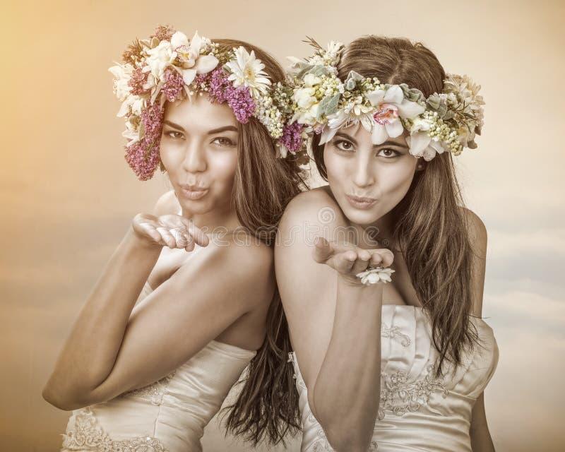 两美丽的春天神仙,送亲吻的新娘到您 库存照片