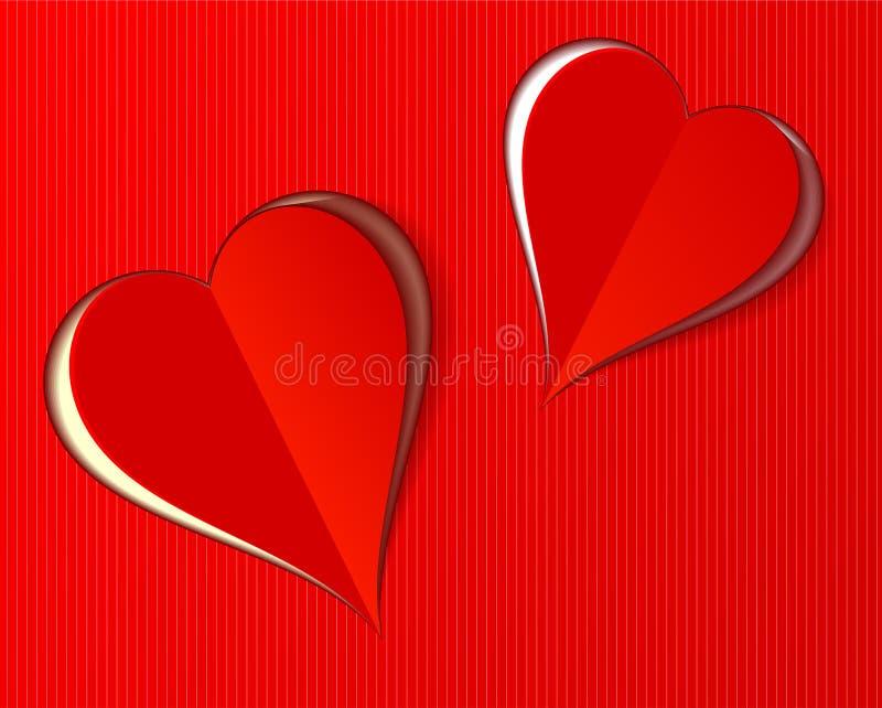 两美丽的红色华伦泰爱心脏纸削减了样式 向量例证