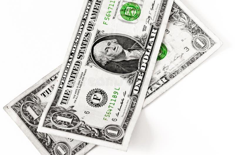 两美国美元被放置在白色 免版税库存图片