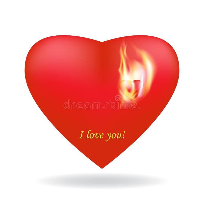两美好的猩红色3D心脏 与爱火焰的小烧心  传染媒介,被隔绝的白色背景,阴影 库存例证
