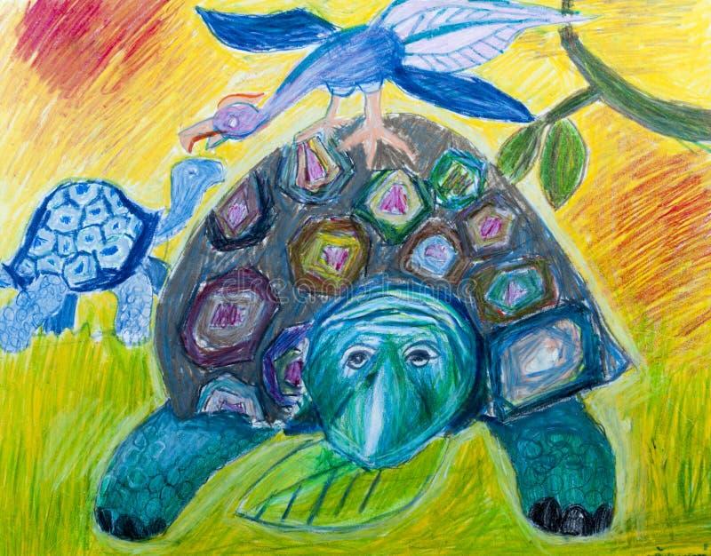 两老乌龟和幻想鸟在草甸 免版税库存照片
