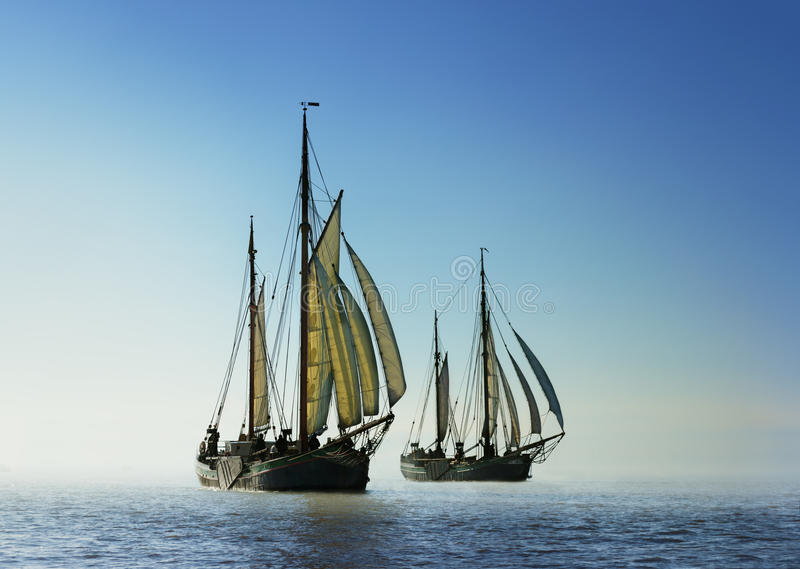两艘传统帆船 图库摄影