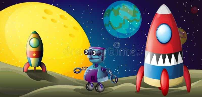 两艘太空飞船和一个紫色机器人在outerspace 皇族释放例证