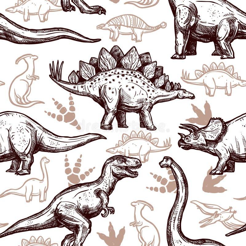 两色恐龙脚印无缝的样式 向量例证