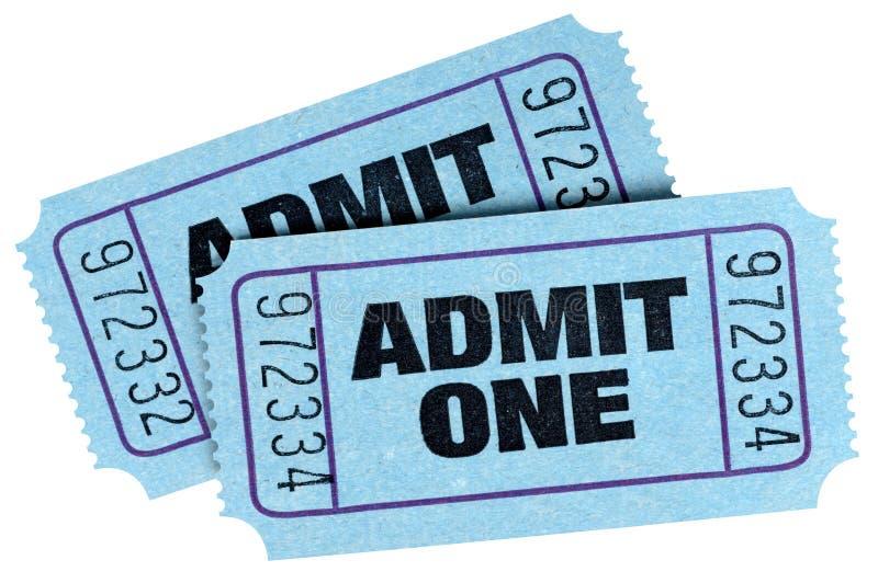 两蓝色承认一在白色背景隔绝的票 免版税库存照片