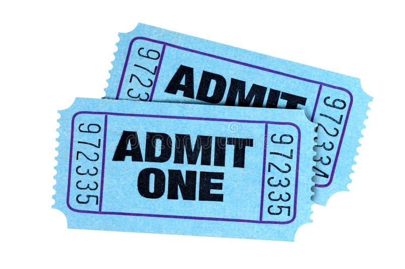 两蓝色承认被隔绝的一戏院戏票 免版税图库摄影