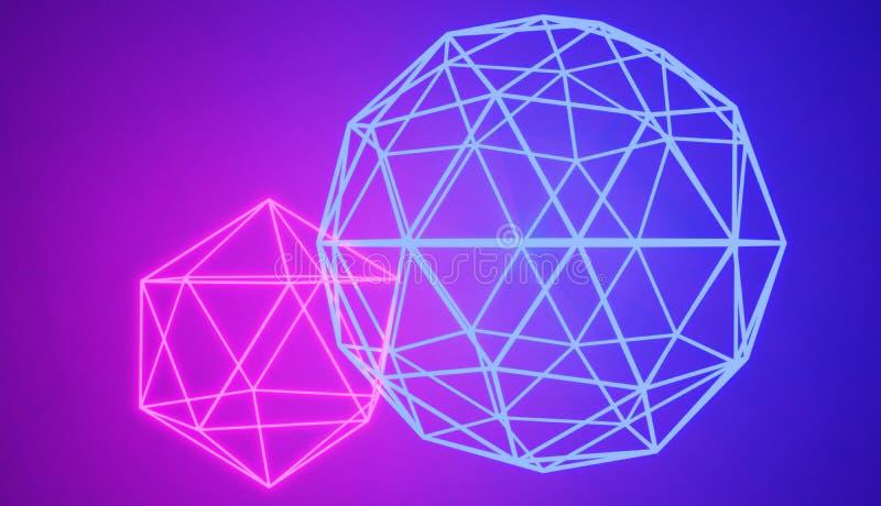 两被连接的发光的霓虹几何形状 皇族释放例证